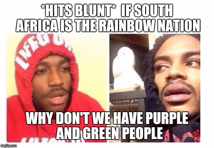 Hits blunt | *HITS BLUNT*  IF SOUTH AFRICA IS THE RAINBOW NATION WHY DON'T WE HAVE PURPLE  AND GREEN PEOPLE | image tagged in hits blunt | made w/ Imgflip meme maker