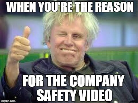 Gary Busey approves | WHEN YOU'RE THE REASON FOR THE COMPANY SAFETY VIDEO | image tagged in gary busey approves | made w/ Imgflip meme maker