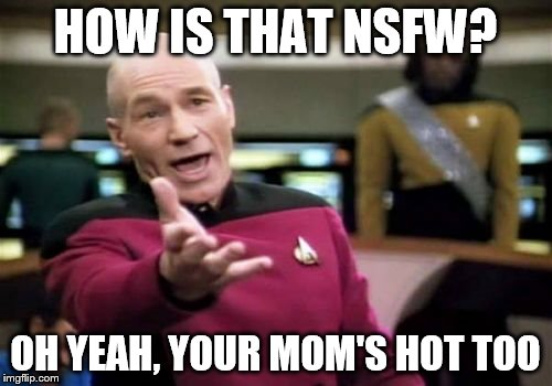 Picard Wtf Meme | HOW IS THAT NSFW? OH YEAH, YOUR MOM'S HOT TOO | image tagged in memes,picard wtf | made w/ Imgflip meme maker