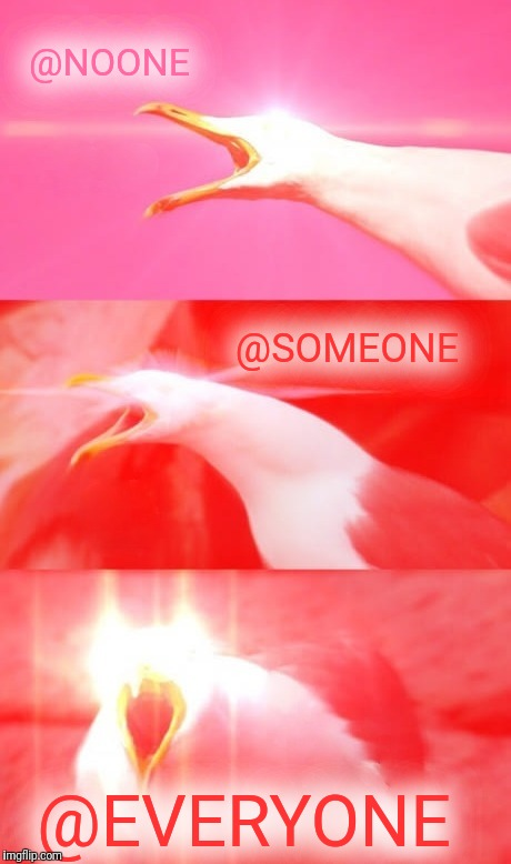 Inhaling Seagull Reply | @NOONE @EVERYONE @SOMEONE | image tagged in inhaling seagull reply | made w/ Imgflip meme maker