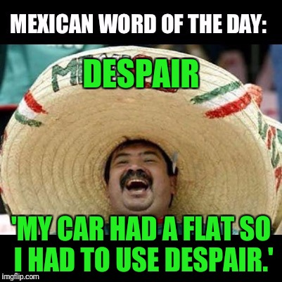 Mexican Word of the Day (LARGE) | DESPAIR 'MY CAR HAD A FLAT SO I HAD TO USE DESPAIR.' | image tagged in mexican word of the day,car | made w/ Imgflip meme maker