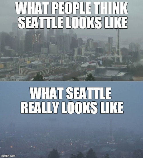 WHAT PEOPLE THINK SEATTLE LOOKS LIKE WHAT SEATTLE REALLY LOOKS LIKE | image tagged in seattle | made w/ Imgflip meme maker