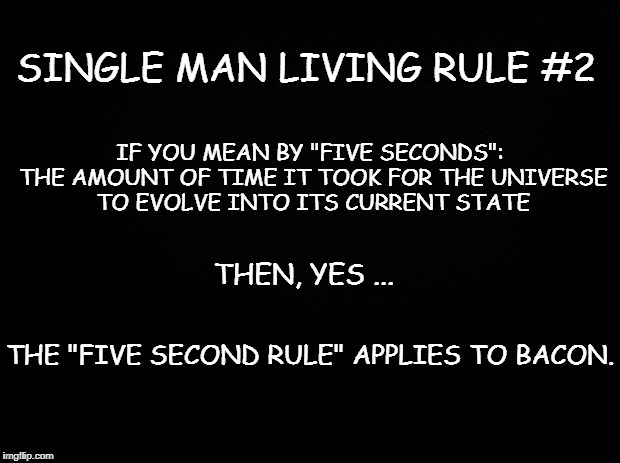 "Black background | SINGLE MAN LIVING RULE #2 IF YOU MEAN BY ""FIVE SECONDS"": THE AMOUNT OF TIME IT TOOK FOR THE UNIVERSE TO EVOLVE INTO ITS CURRENT STATE THEN,  