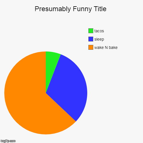 wake N bake, sleep, tacos | image tagged in funny,pie charts | made w/ Imgflip pie chart maker