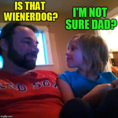 IS THAT WIENERDOG? I'M NOT SURE DAD? | made w/ Imgflip meme maker