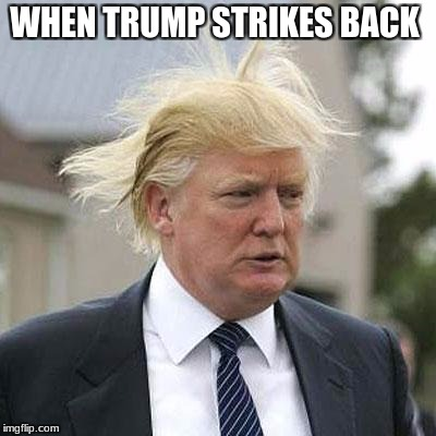 Donald Trump | WHEN TRUMP STRIKES BACK | image tagged in donald trump | made w/ Imgflip meme maker