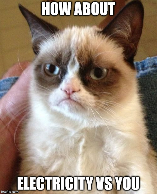 Grumpy Cat Meme | HOW ABOUT ELECTRICITY VS YOU | image tagged in memes,grumpy cat | made w/ Imgflip meme maker