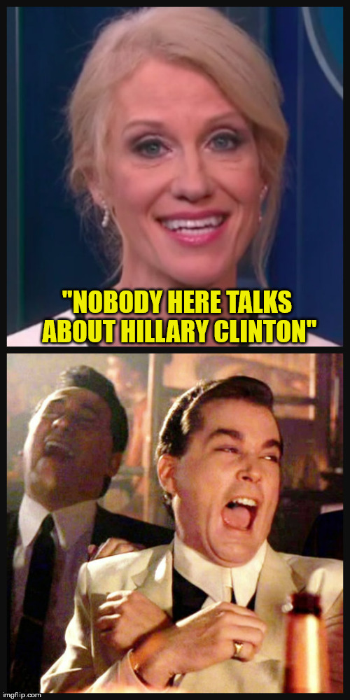 "Five seconds after she brought up Hillary Clinton, and the same day Trump mentioned her numerous times | ""NOBODY HERE TALKS ABOUT HILLARY CLINTON"" 