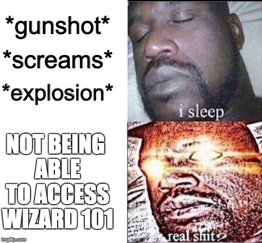 Sleeping Shaq / Real Shit | NOT BEING ABLE TO ACCESS WIZARD 101 | image tagged in sleeping shaq / real shit | made w/ Imgflip meme maker