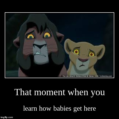 That moment when you | learn how babies get here | image tagged in funny,demotivationals | made w/ Imgflip demotivational maker