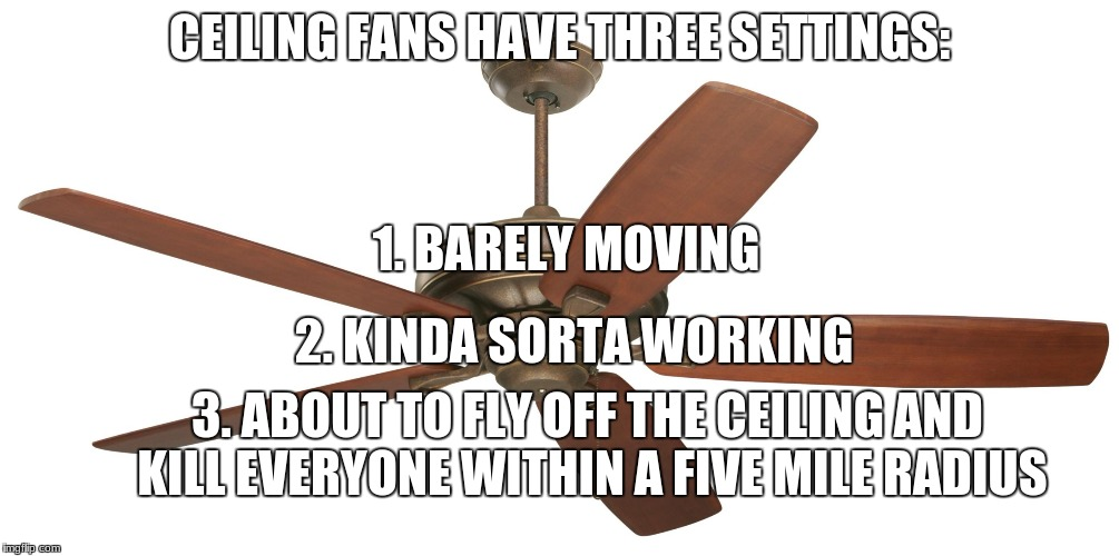 Ceiling fan | CEILING FANS HAVE THREE SETTINGS: 2. KINDA SORTA WORKING 3. ABOUT TO FLY OFF THE CEILING AND KILL EVERYONE WITHIN A FIVE MILE RADIUS 1. BARE | image tagged in ceiling fan | made w/ Imgflip meme maker