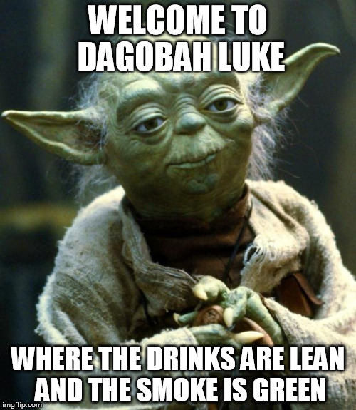 Star Wars Yoda Meme | WELCOME TO DAGOBAH LUKE WHERE THE DRINKS ARE LEAN AND THE SMOKE IS GREEN | image tagged in memes,star wars yoda | made w/ Imgflip meme maker