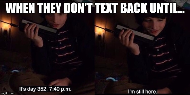 WHEN THEY DON'T TEXT BACK UNTIL... | image tagged in stranger things mike | made w/ Imgflip meme maker