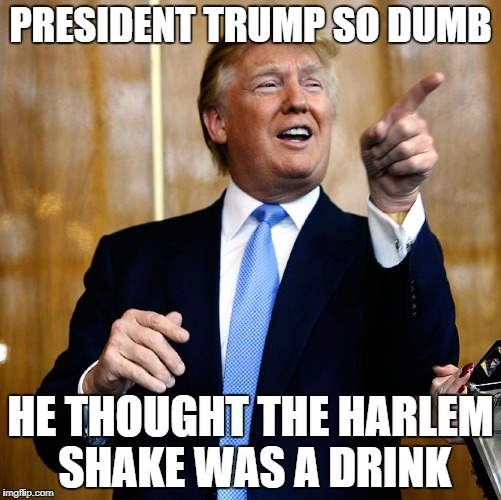 President Trump so dumb | PRESIDENT TRUMP SO DUMB HE THOUGHT THE HARLEM SHAKE WAS A DRINK | image tagged in president trump,donald trump,yo momma,dumb | made w/ Imgflip meme maker