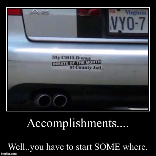 First Demotivational Meme In A Lonnng Time | Accomplishments.... | Well..you have to start SOME where. | image tagged in funny,demotivationals,jail | made w/ Imgflip demotivational maker