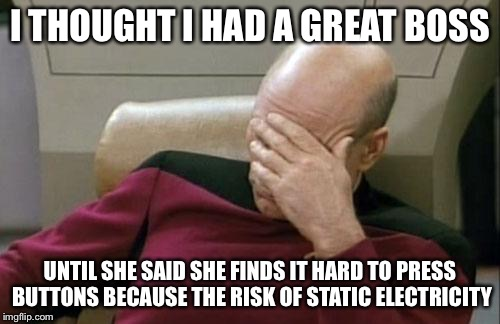 Captain Picard Facepalm Meme | I THOUGHT I HAD A GREAT BOSS UNTIL SHE SAID SHE FINDS IT HARD TO PRESS BUTTONS BECAUSE THE RISK OF STATIC ELECTRICITY | image tagged in memes,captain picard facepalm | made w/ Imgflip meme maker
