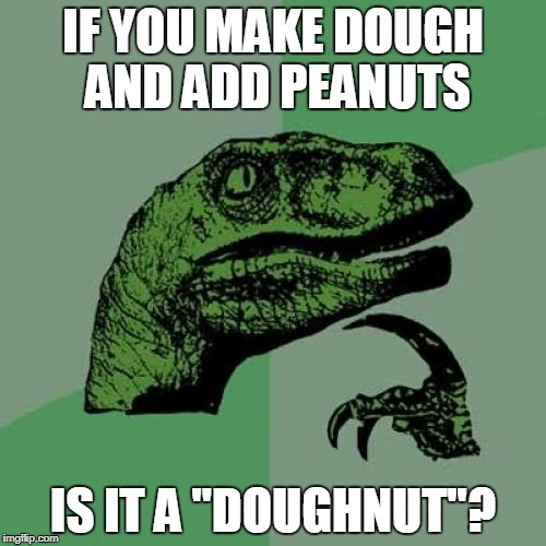 "Philosoraptor Meme | IF YOU MAKE DOUGH AND ADD PEANUTS IS IT A ""DOUGHNUT''? 