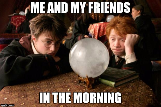 Harry Potter meme | ME AND MY FRIENDS IN THE MORNING | image tagged in harry potter meme | made w/ Imgflip meme maker