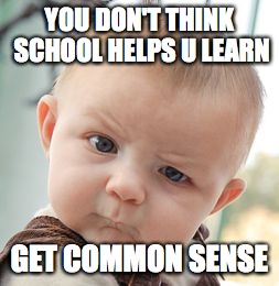 Skeptical Baby Meme | YOU DON'T THINK SCHOOL HELPS U LEARN GET COMMON SENSE | image tagged in memes,skeptical baby | made w/ Imgflip meme maker