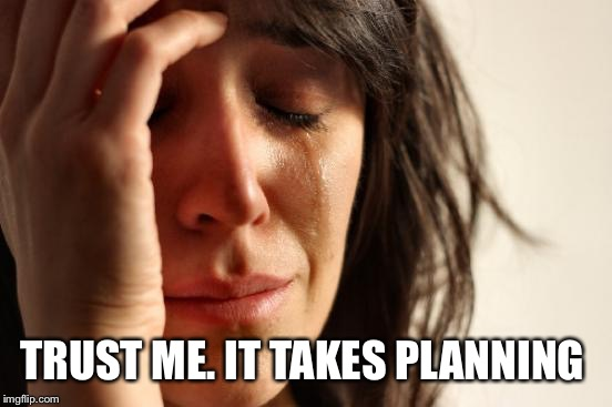 First World Problems Meme | TRUST ME. IT TAKES PLANNING | image tagged in memes,first world problems | made w/ Imgflip meme maker
