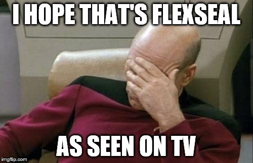 Captain Picard Facepalm Meme | I HOPE THAT'S FLEXSEAL AS SEEN ON TV | image tagged in memes,captain picard facepalm | made w/ Imgflip meme maker