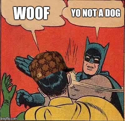 Batman Slapping Robin Meme | WOOF YO NOT A DOG | image tagged in memes,batman slapping robin,scumbag | made w/ Imgflip meme maker