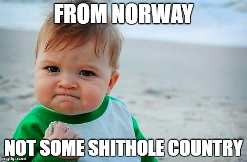 Victory Baby | FROM NORWAY NOT SOME SHITHOLE COUNTRY | image tagged in victory baby | made w/ Imgflip meme maker