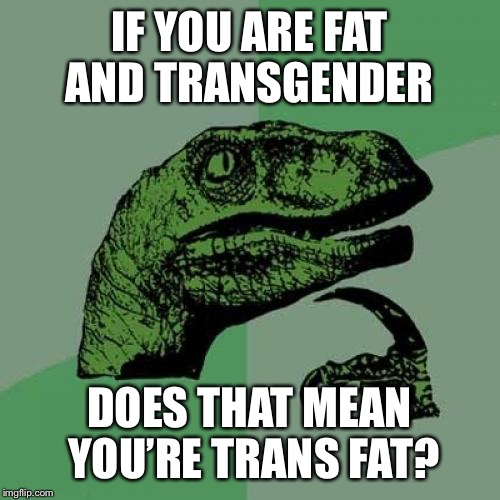 Philosoraptor Meme | IF YOU ARE FAT AND TRANSGENDER DOES THAT MEAN YOU'RE TRANS FAT? | image tagged in memes,philosoraptor | made w/ Imgflip meme maker