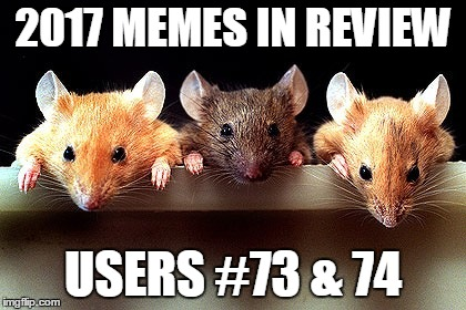 Dec.31 to Feb.1 - 2017 Memes in Review. My favorite 2017 memes from the users on the Top 100 leaderboard. | 2017 MEMES IN REVIEW USERS #73 & 74 | image tagged in 3 mice,memes,comethunter,catfish94,top users,2017 memes in review | made w/ Imgflip meme maker