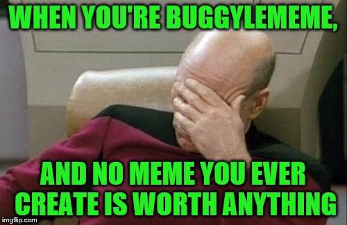 Captain Picard Facepalm Meme | WHEN YOU'RE BUGGYLEMEME, AND NO MEME YOU EVER CREATE IS WORTH ANYTHING | image tagged in memes,captain picard facepalm | made w/ Imgflip meme maker