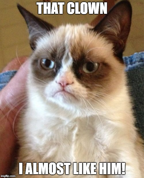 Grumpy Cat Meme | THAT CLOWN I ALMOST LIKE HIM! | image tagged in memes,grumpy cat | made w/ Imgflip meme maker