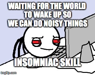 WAITING FOR THE WORLD TO WAKE UP SO WE CAN DO NOISY THINGS INSOMNIAC SKILL | image tagged in awake at computer | made w/ Imgflip meme maker
