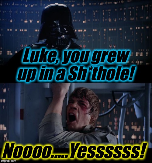 Star Wars Luke Gre Up in a Sh*thole No...Yes!  | Luke, you grew up in a Sh*thole! Noooo.....Yessssss! | image tagged in memes,star wars no,evilmandoevil,donald trump,funny,yes | made w/ Imgflip meme maker
