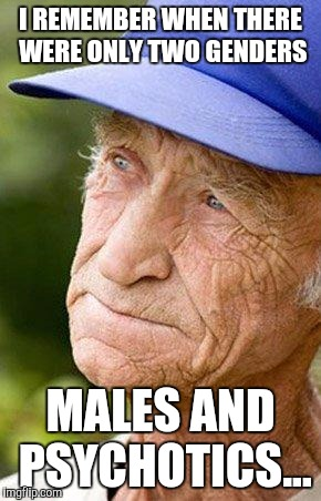 The good old days | I REMEMBER WHEN THERE WERE ONLY TWO GENDERS MALES AND PSYCHOTICS... | image tagged in sad old man nostalga,gender,sex,funny | made w/ Imgflip meme maker