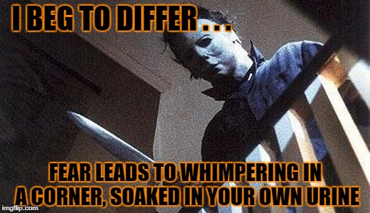 I BEG TO DIFFER . . . FEAR LEADS TO WHIMPERING IN A CORNER, SOAKED IN YOUR OWN URINE | made w/ Imgflip meme maker