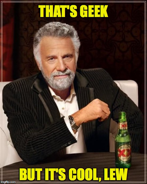 The Most Interesting Man In The World Meme | THAT'S GEEK BUT IT'S COOL, LEW | image tagged in memes,the most interesting man in the world | made w/ Imgflip meme maker