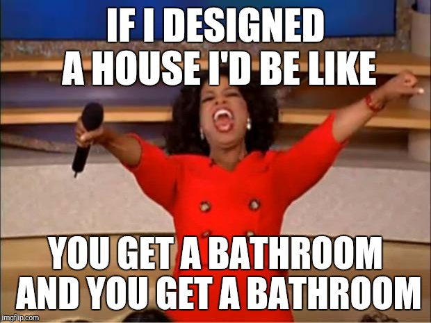 Oprah You Get A Meme | IF I DESIGNED A HOUSE I'D BE LIKE YOU GET A BATHROOM AND YOU GET A BATHROOM | image tagged in memes,oprah you get a | made w/ Imgflip meme maker
