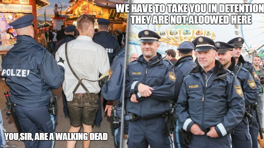 WE HAVE TO TAKE YOU IN DETENTION, THEY ARE NOT ALOOWED HERE YOU,SIR, ARE A WALKING DEAD | made w/ Imgflip meme maker