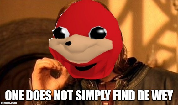 one does not simply find de wey | ONE DOES NOT SIMPLY FIND DE WEY | image tagged in knuckles,2018,memes,funny memes,brudda,de wey | made w/ Imgflip meme maker