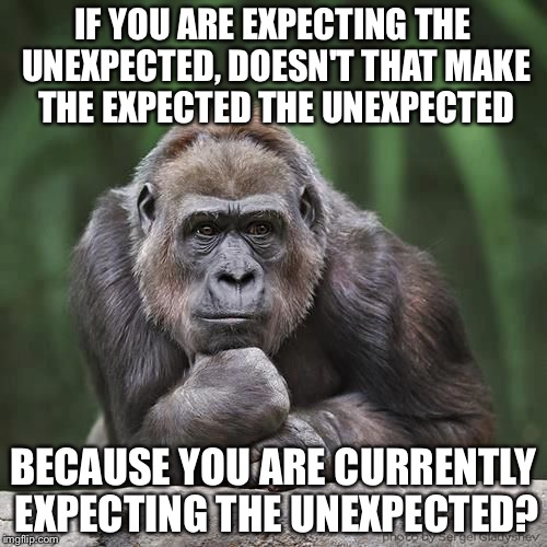 Paradox Gorilla | IF YOU ARE EXPECTING THE UNEXPECTED, DOESN'T THAT MAKE THE EXPECTED THE UNEXPECTED BECAUSE YOU ARE CURRENTLY EXPECTING THE UNEXPECTED? | image tagged in paradox,gorilla,thinking | made w/ Imgflip meme maker