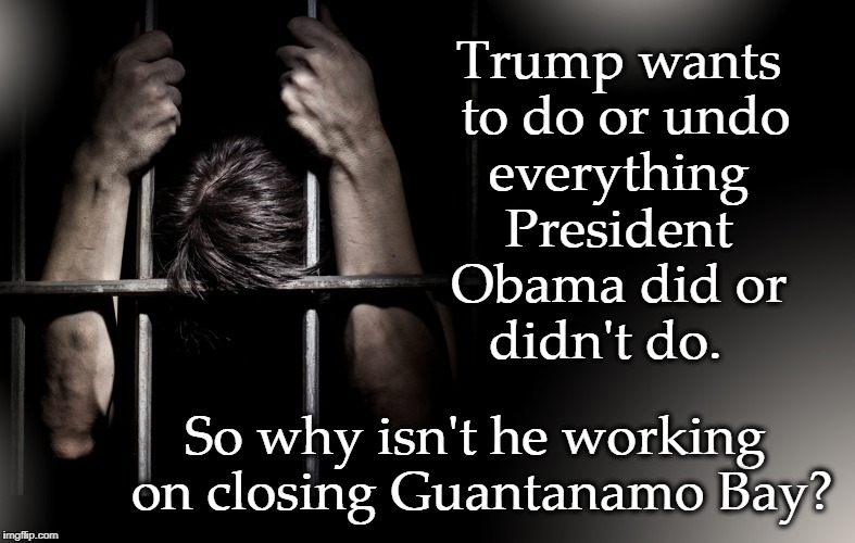 Driven by Insecurity | Trump wants to do or undo So why isn't he working on closing Guantanamo Bay? everything President Obama did or didn't do. | image tagged in trump,guantanamo,guantanamo bay | made w/ Imgflip meme maker