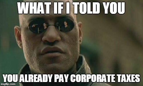 Matrix Morpheus Meme | WHAT IF I TOLD YOU YOU ALREADY PAY CORPORATE TAXES | image tagged in memes,matrix morpheus | made w/ Imgflip meme maker