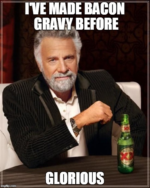 The Most Interesting Man In The World Meme | I'VE MADE BACON GRAVY BEFORE GLORIOUS | image tagged in memes,the most interesting man in the world | made w/ Imgflip meme maker