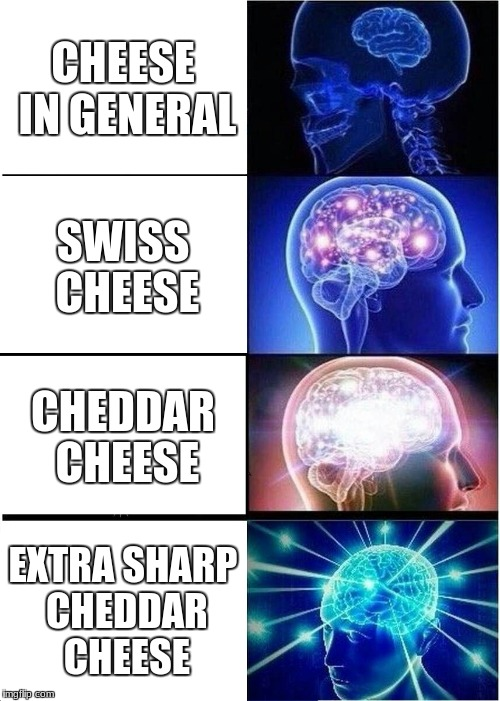 Expanding Brain Meme | CHEESE IN GENERAL SWISS CHEESE CHEDDAR CHEESE EXTRA SHARP CHEDDAR CHEESE | image tagged in memes,expanding brain | made w/ Imgflip meme maker