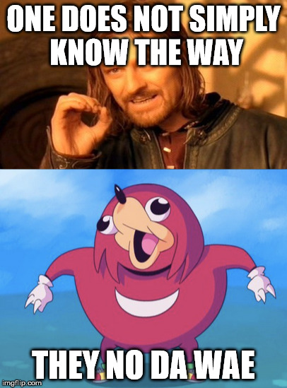 DA WAE | ONE DOES NOT SIMPLY KNOW THE WAY THEY NO DA WAE | image tagged in ugandan knuckles,one does not simply | made w/ Imgflip meme maker
