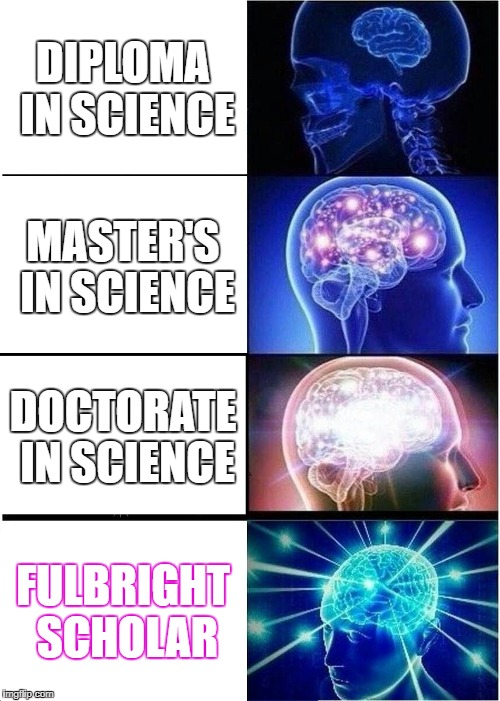 Expanding Brain Meme | DIPLOMA IN SCIENCE MASTER'S IN SCIENCE DOCTORATE IN SCIENCE FULBRIGHT SCHOLAR | image tagged in memes,expanding brain | made w/ Imgflip meme maker