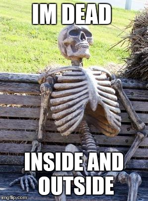 Waiting Skeleton Meme | IM DEAD INSIDE AND OUTSIDE | image tagged in memes,waiting skeleton | made w/ Imgflip meme maker