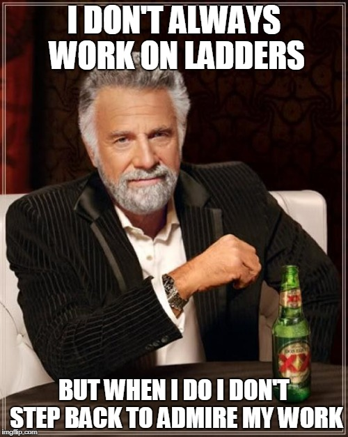 The Most Interesting Man In The World Meme | I DON'T ALWAYS WORK ON LADDERS BUT WHEN I DO I DON'T STEP BACK TO ADMIRE MY WORK | image tagged in memes,the most interesting man in the world | made w/ Imgflip meme maker