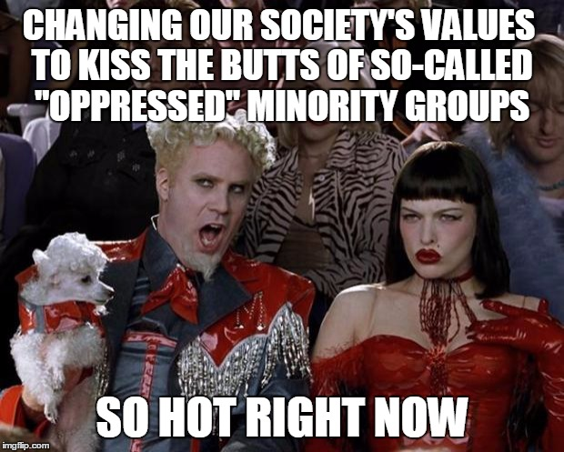 "CHANGING OUR SOCIETY'S VALUES TO KISS THE BUTTS OF SO-CALLED ""OPPRESSED"" MINORITY GROUPS SO HOT RIGHT NOW 