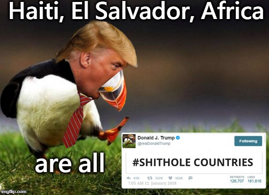 Nobody is saying they're not #UpvoteTrump | Haiti, El Salvador, Africa are all | image tagged in trump twitter,shithole,memes,funny,unpopular opinion puffin | made w/ Imgflip meme maker